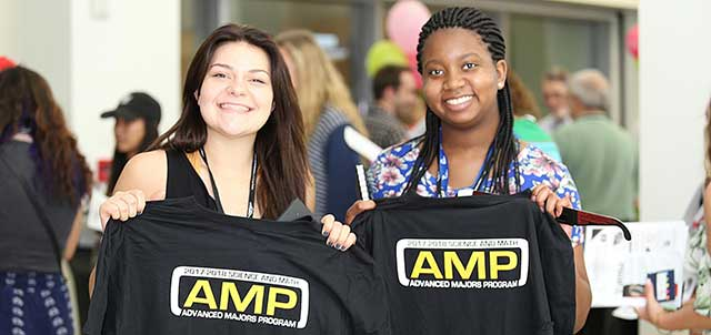 Photos of Advanced Majors Program (AMP) students holding up t-shirts