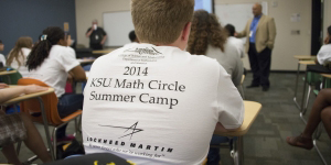 Photo of a student in a Lockheed Martin donor tshirt