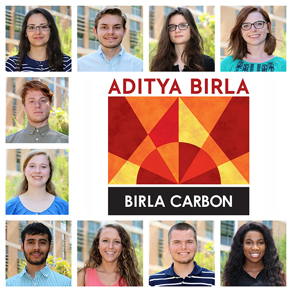 Photo of the 2016 Birla Carbon Scholars recipients (top right, counter-clockwise): Courtney Willett, Katerina Slavicinska, Johnathon Ard, Elena Ninova, Graeme Bettler, Rebecca Hyche, Omar Ugarte Trejo, Danielle Varljen, David Axford, and Soprinye Dappa-Fombo