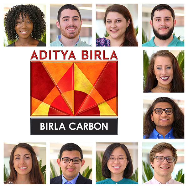 Photos of the 2017 Birla Carbon Scholars (top left, clockwise): Beryl Khakina, Ian Duncan, Hayley Milner, Neil Dodd, Kaylee Bronson, Kevin Patel, Kaveh Kiani, Reagan Hooper, Rahiq Rahman and Rebecca Webster.