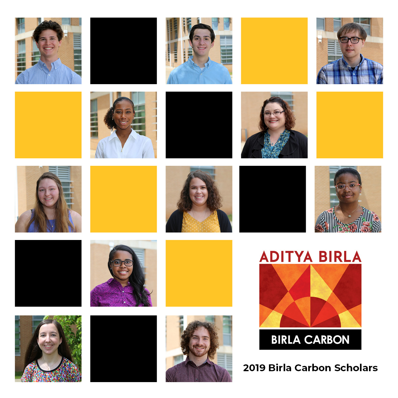 Photo Collage of the 2019 Birla Carbon Scholars, left to right, top to bottom: Max Andrews, Braden Clinebell, Robbie Cronin, Tia Gordon, Rebekah Henneborn, Emma Henry, Tessa Jordan, Naza Okafor, Destiny Paige, Emma Pearson, and Hunter Spivey.