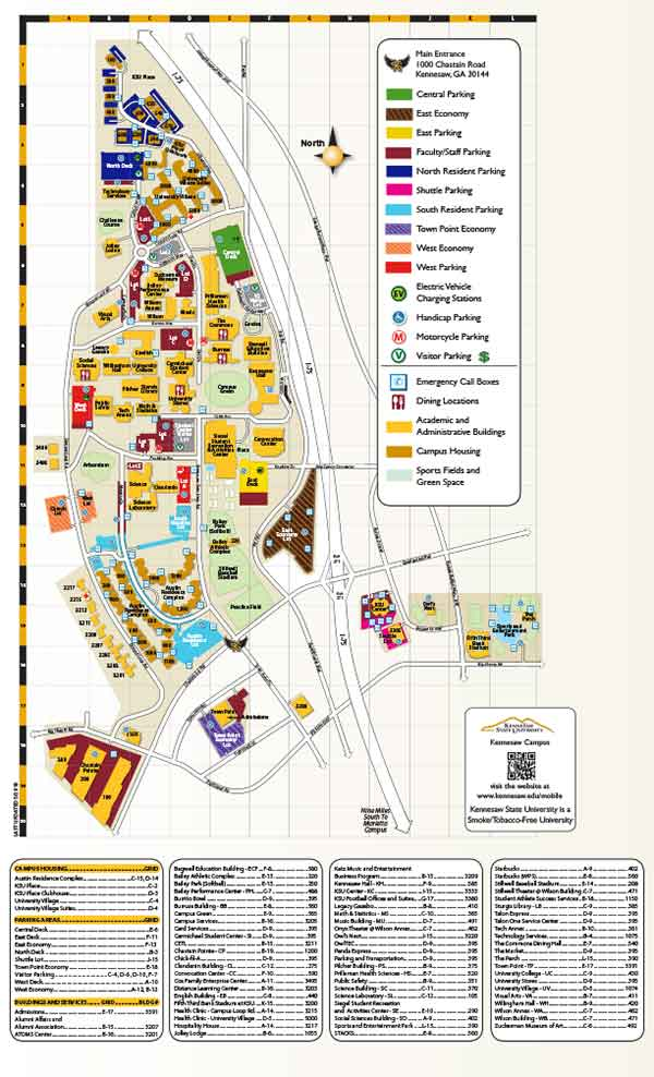 Kennesaw State University - Kennesaw Campus map downloadable PDF