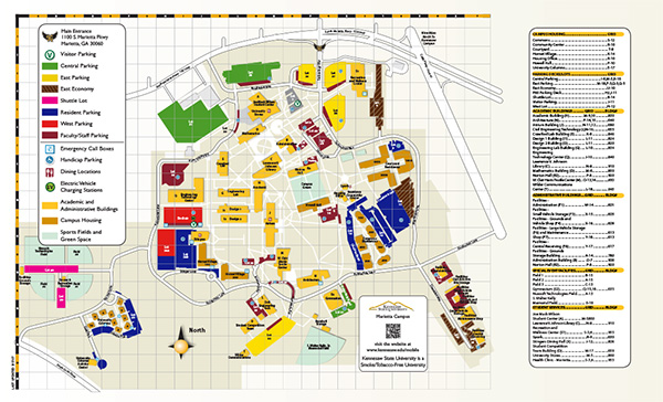 Photo of the Kennesaw State University - Marietta Campus map; Link to downloadable PDF