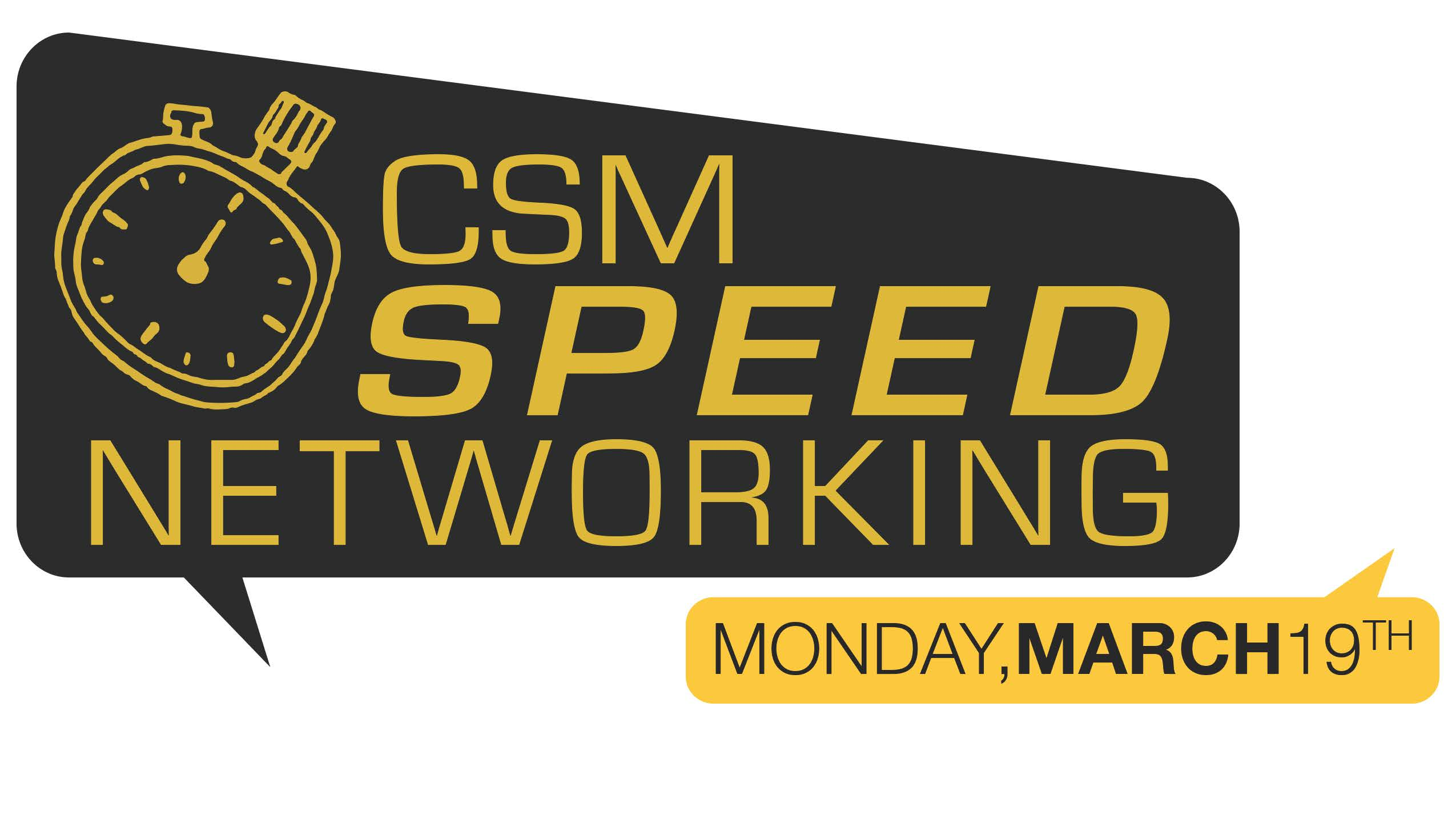 College of Science and Mathematics Speed Networking graphic logo with talk bubble and stopwatch elements - event is on Monday, March 19, 2018