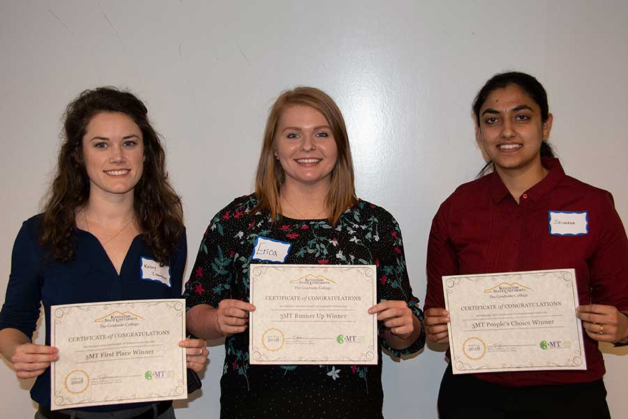 Photo of the College of Science and Mathematics graduate students who won awards