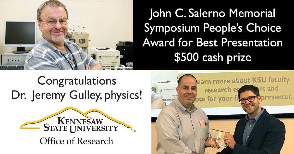 Photo of Dr. Jeremy Gulley receiving an award from Dr. Jonathan McMurry at the John Salerno Research Symposium on September 28, 2018