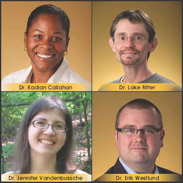 Photo of Dr. Kadian Callahan, Dr. Lake Ritter, Dr. Erik Westlund, and Dr. Jennifer Vandenbussche