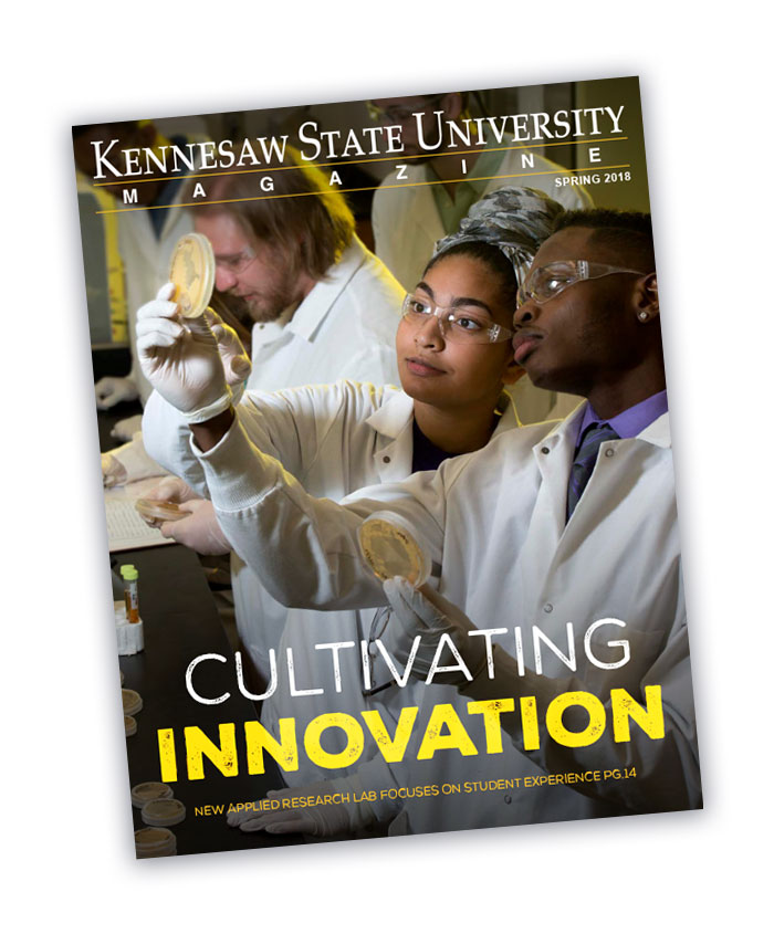 Photo of the front of the Kennesaw State University Magazine